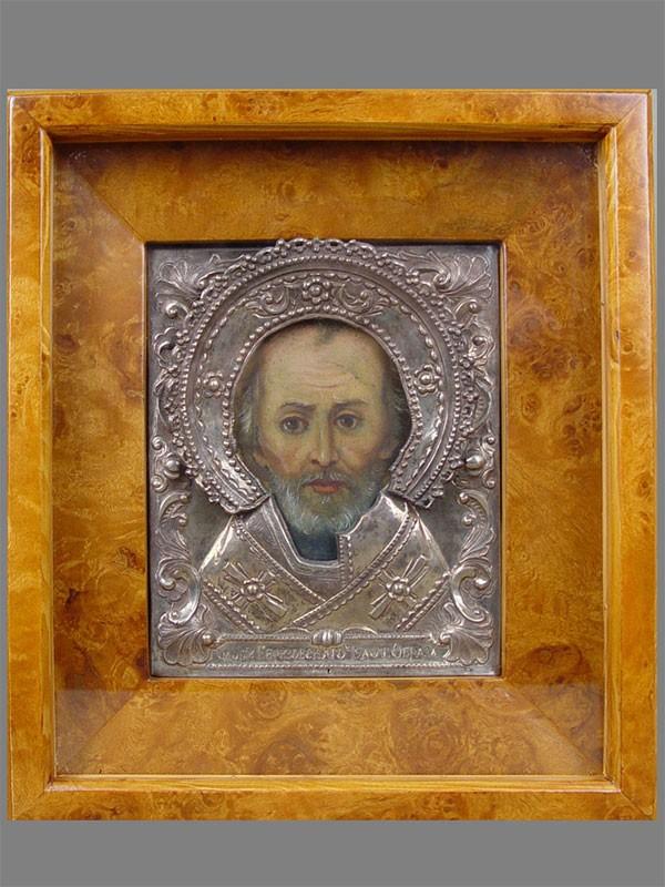 Икона вкиоте «Святой Николай Чудотворец», дерево, масло, оклад— серебро 84пробы, 17,5×13см