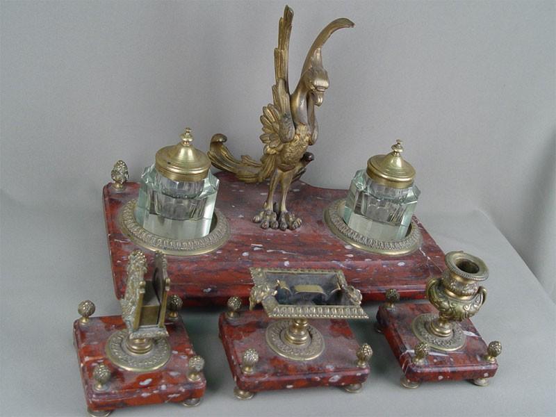 Письменный прибор «Птица» (6предметов), бронза, яшма, начало XXвека