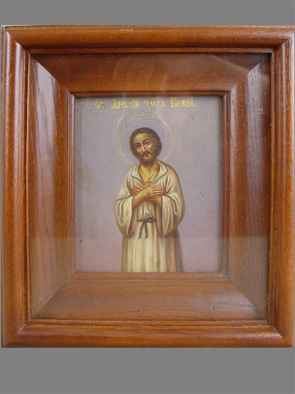 Икона «Святой Алексий Человек Божий», дерево, масло, XIXв., 13×11см; киот