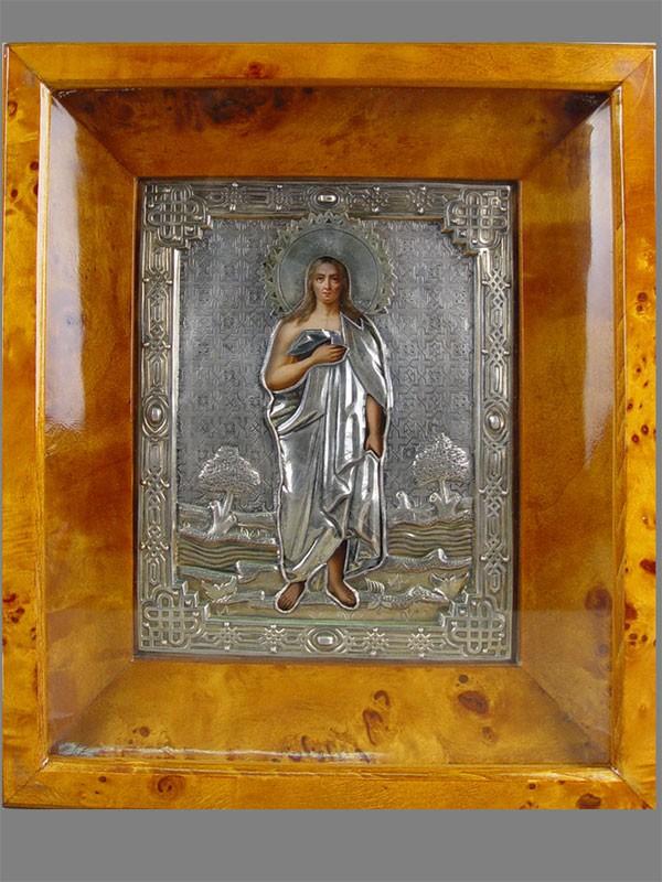 Икона «Святая Мария Египетская», дерево, масло, оклад— серебро 84пробы, XIXвек, размер иконы: 22×18см