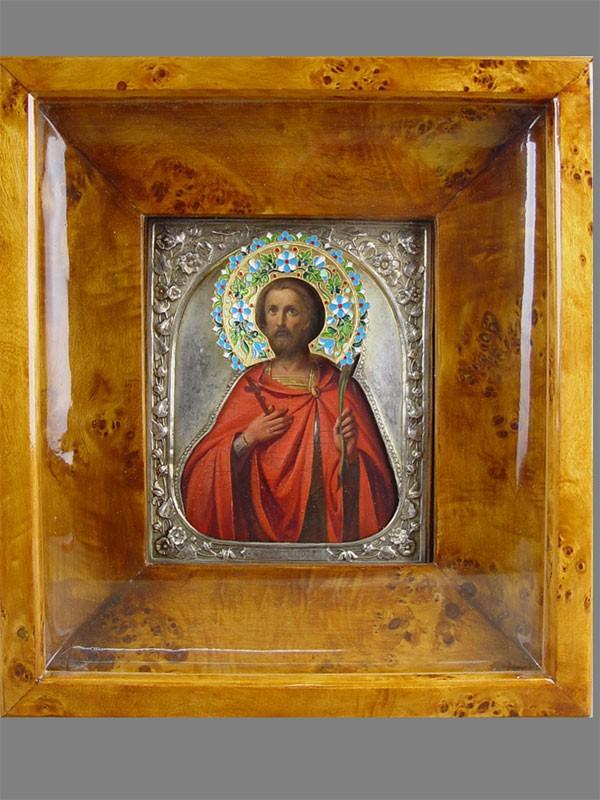 Икона вкиоте «Святой великомученик Федор Тирский», дерево, левкас, темпера; оклад: серебро 84пробы, полихромная перегородчатая эмаль. XIXвек, размер иконы: 18×15см