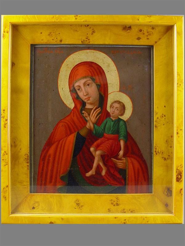 «Пресвятая Богородица Ватопедская», дерево, масло, XIXв., 31×26см