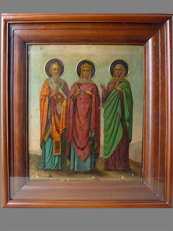 «Святой Василий, Святая Наталия, Святая Александра», дерево, масло, XIXв., 31×27см; киот