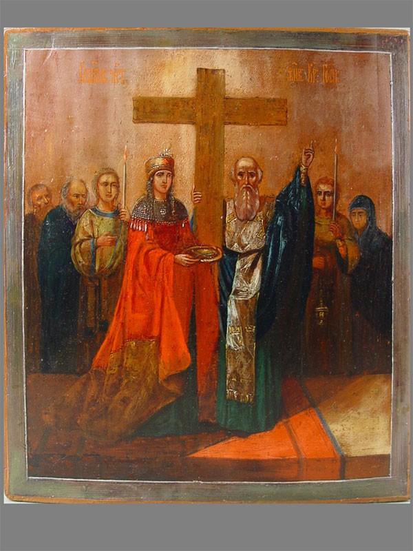 Икона «Святая Елена. Воздвижение Честного Креста Господня», дерево, масло, размер: 36×31см