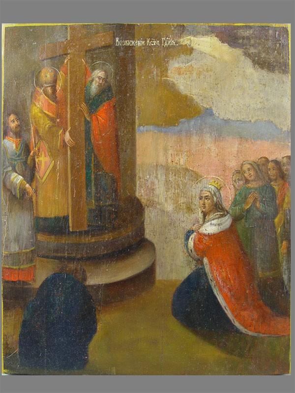 Икона «Святая Елена. Воздвижение Честного Креста Господня», дерево, масло, XIXвек, размер: 36×31см