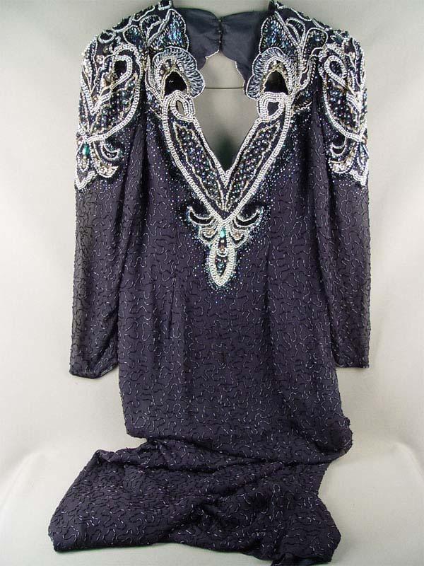Платье, шелк, вышивка бисером, стеклярусом, 1960—70-е гг.