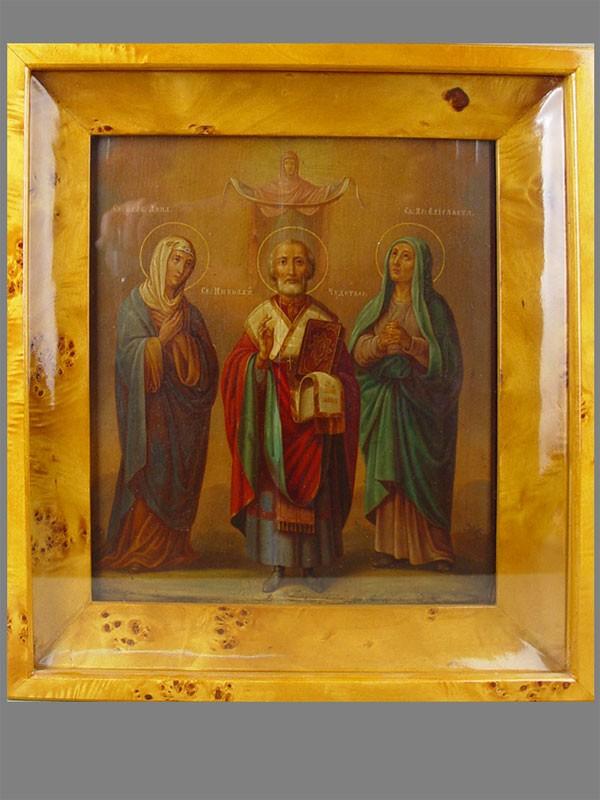 Икона «Святой Николай Чудотворец, Святая Елизавета, Святая Анна», дерево, масло, 31,5×26,5см, XIXв; киот