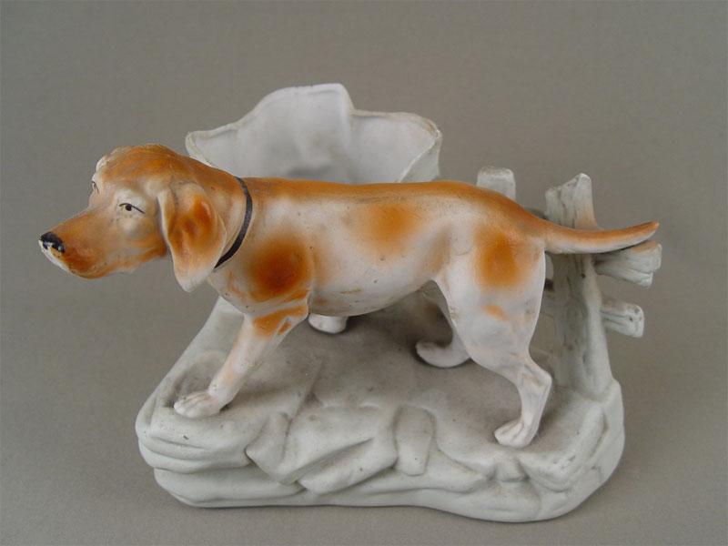 Карандашница «Охотничья собака», бисквит, роспись