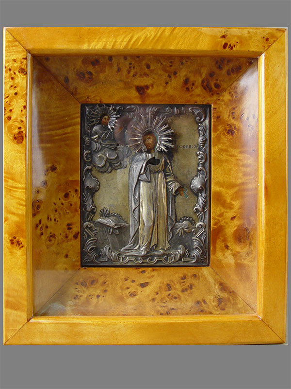 Икона вкиоте «Святой Иаков Постник», дерево, масло, оклад— серебро 84пробы, XIXвек, размер:13×10,5см