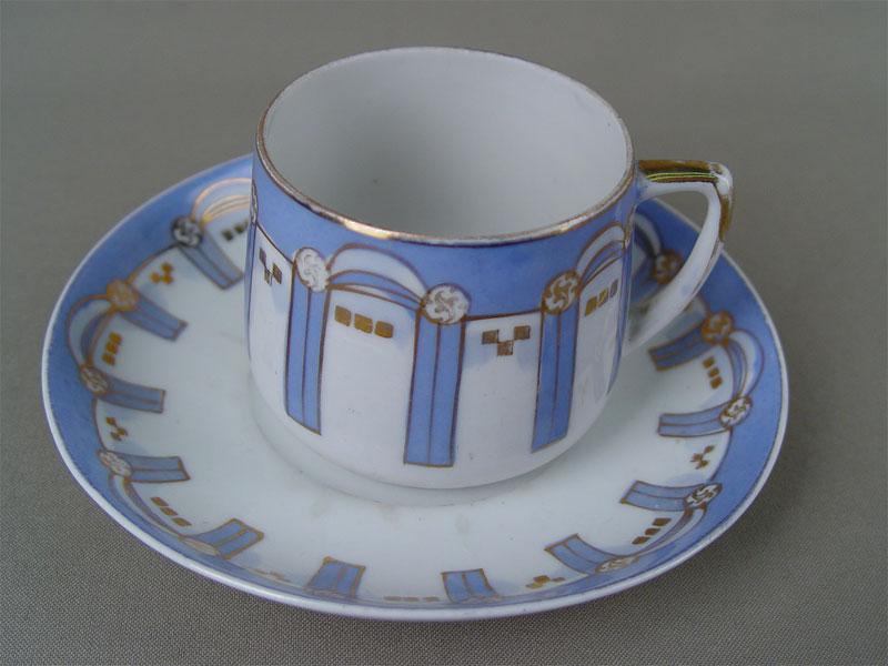 Чайная пара, фарфор, роспись. Вербилки, начало XXвека
