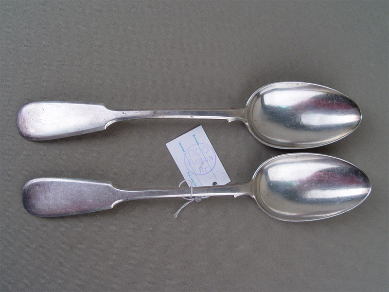 Столовые ложки (2шт.), серебро 84пробы, общий вес— 141г