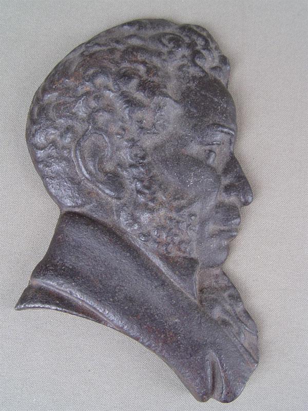 Барельеф «Александр Сергеевич Пушкин», чугун, литье, покраска, размер: 14,5×8,5см