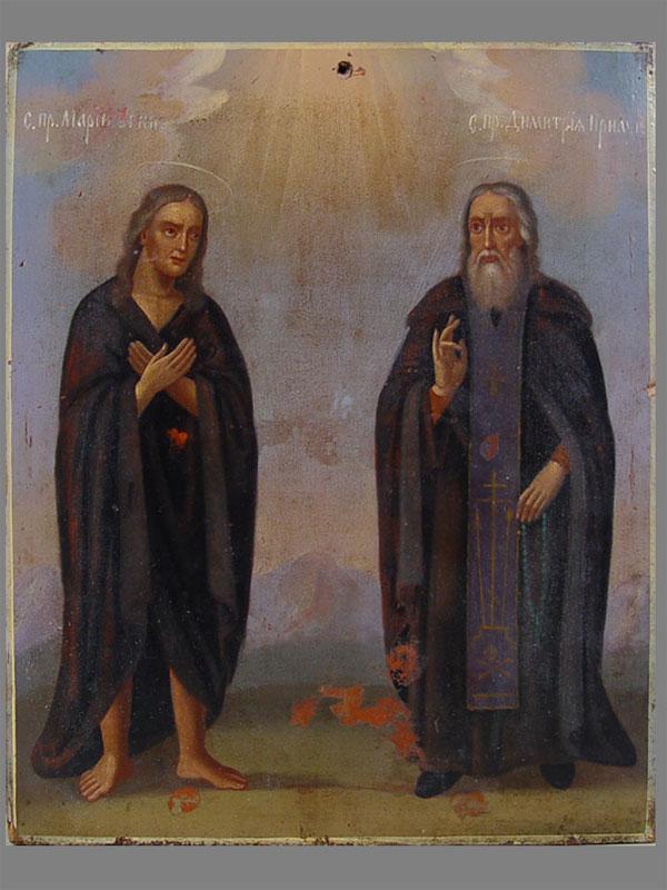 «Св. Димитрий Прилуцкий иСв.Мария Египетская», дерево, масло, 25,5×20,5см