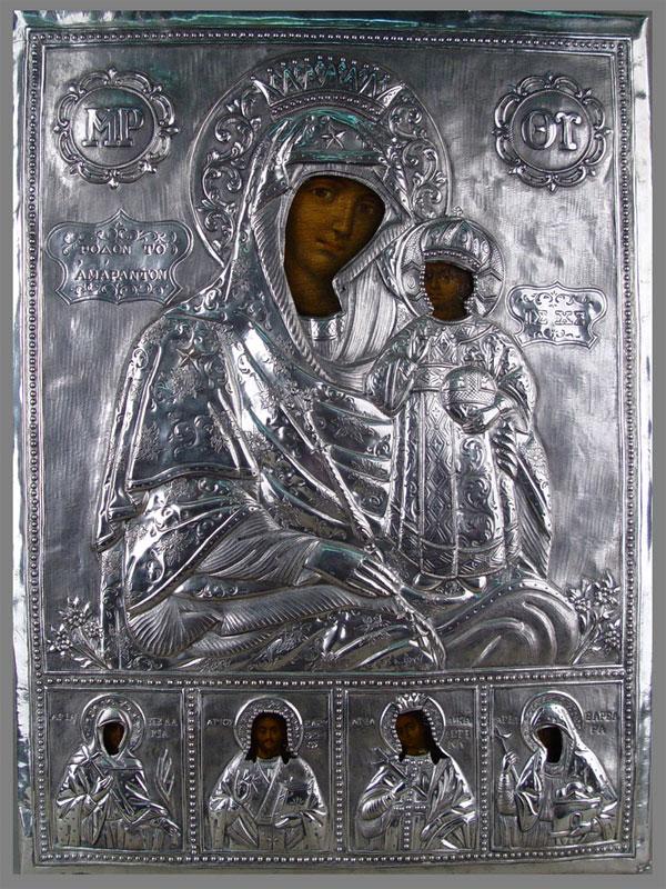 Икона «Пресвятая Богородица», дерево, левкас, темпера, оклад— серебро пореактиву. Греция, 1873г., 51×32см