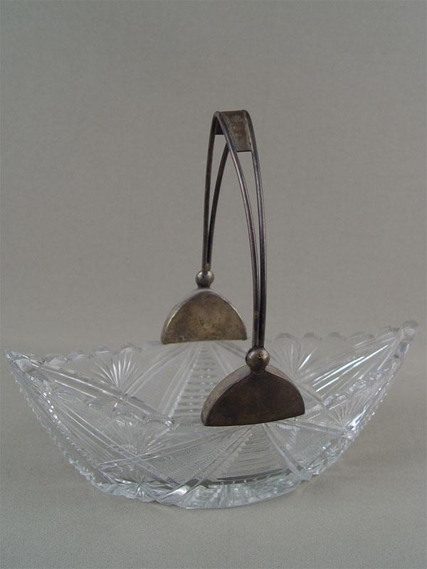 Конфетница «Ладья», хрусталь, серебро 875пробы, длина— 23см