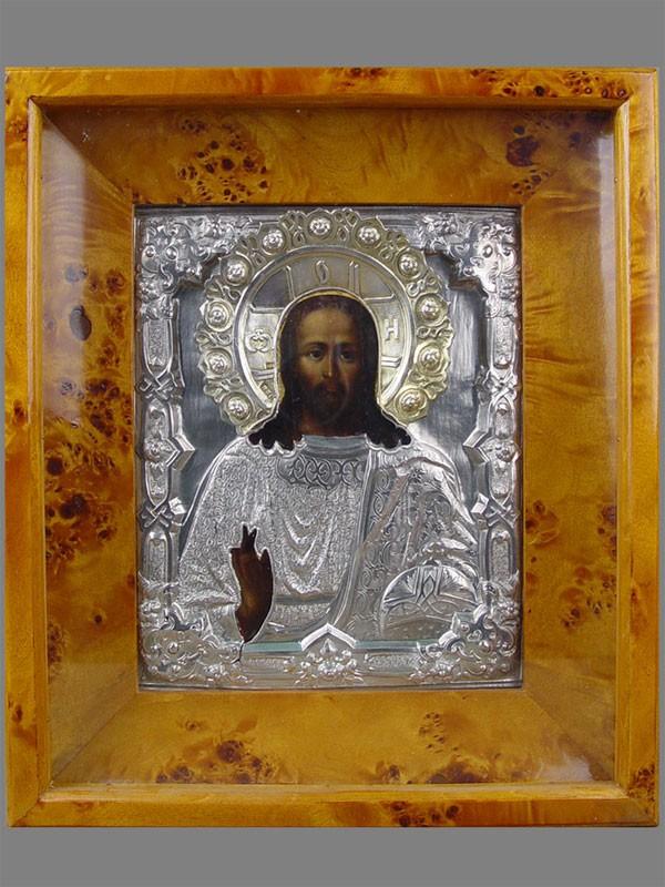 Икона «Господь Вседержитель», дерево, левкас, темпера, оклад— серебро 84пробы, XIXв., 22×18см; киот