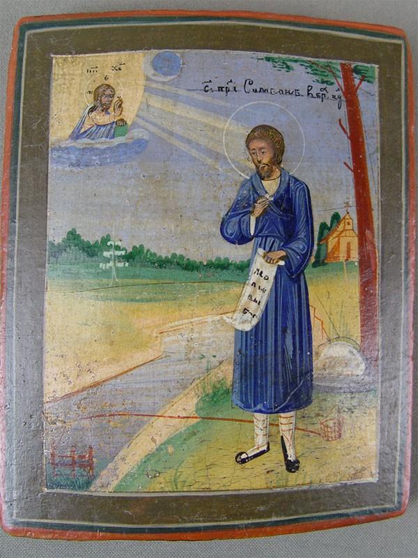 Икона «Святой Симеон Верхотурский», дерево, левкас, темпера, XIXв., 13×11см
