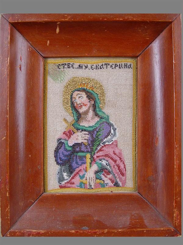«Святая Екатерина», вышивка бисером, 15,5×11см