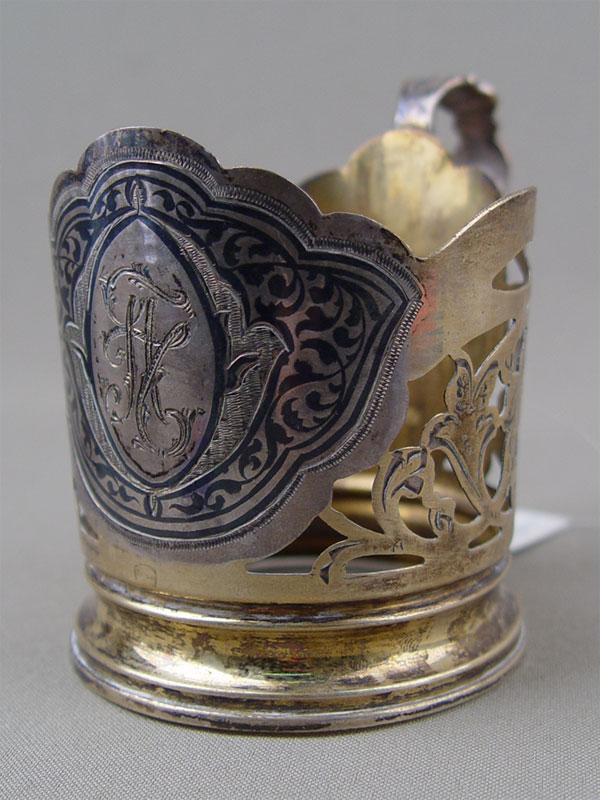 Подстаканник, серебро 875пробы, чернь, позолота, общий вес— 78,6г