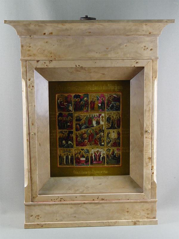 «Праздники», дерево, левкас, темпера, 32×26,5см; киот