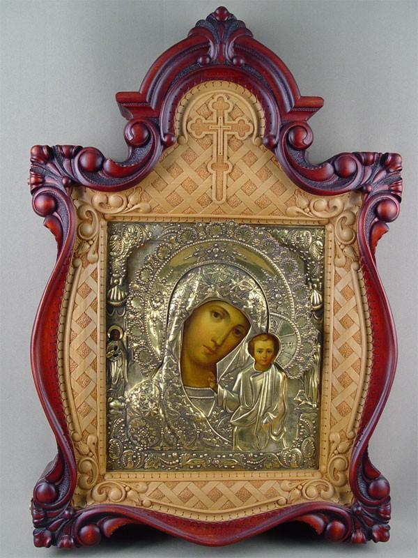 Икона вкиоте «Пресвятая Богородица Казанская», дерево, масло; оклад— серебро 84пробы, позолота; XIXвек, размер иконы: 32×27см