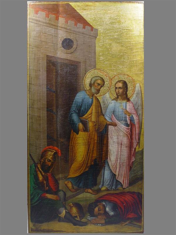 Икона «Чудесное освобождение Святого апостола Петра изтемницы», дерево, левкас, темпера, XIXвек, размер: 100×51см