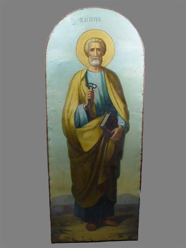Икона «Святой апостол Петр», дерево, металл. XIXвек, размер: 126×50см