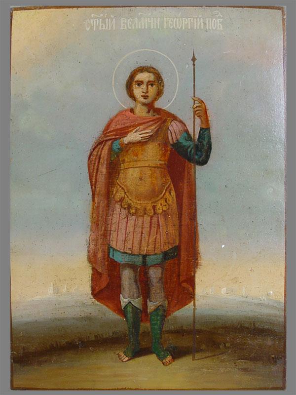 «Святой Великомученик Георгий Победоносец», дерево, масло, XIXв., 30×22см; киот