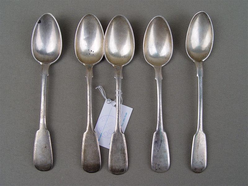 Ложки чайные (5шт.), серебро 84пробы, общий вес— 117г