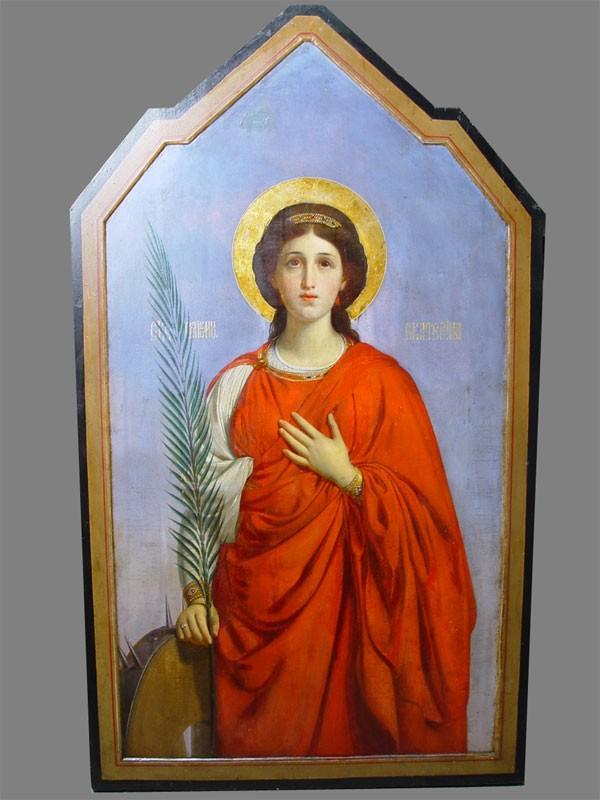 Икона «Святая великомученица Екатерина» дерево, смешанная техника, стиль— модерн, начало XXвека, размер: 113×65см