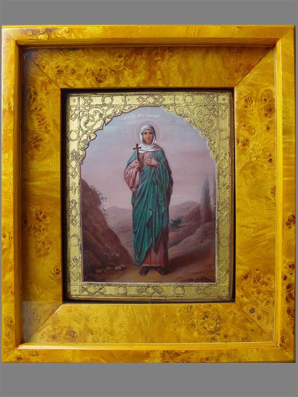 Икона «Святая Мученица Клавдия» дерево, смешанная техника, 21×17см; киот