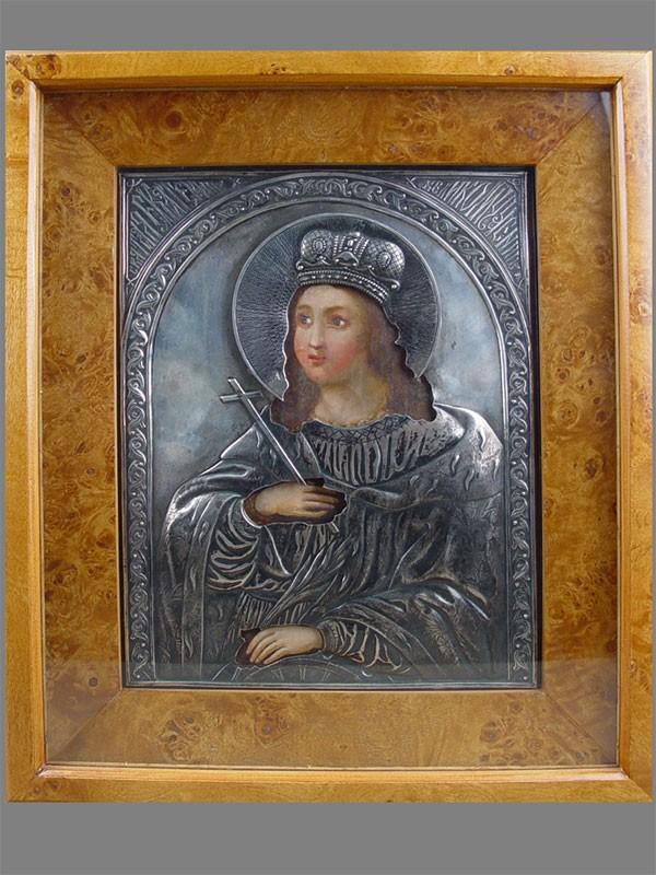 Икона вкиоте «Святая Великомученица Екатерина», дерево, масло, оклад— серебро 84пробы, размер иконы: 27,5×22см