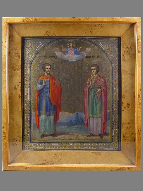 Икона «Святые Мученики Флор иЛавр», дерево, левкас, темпера, XIXв., 35×31см; киот