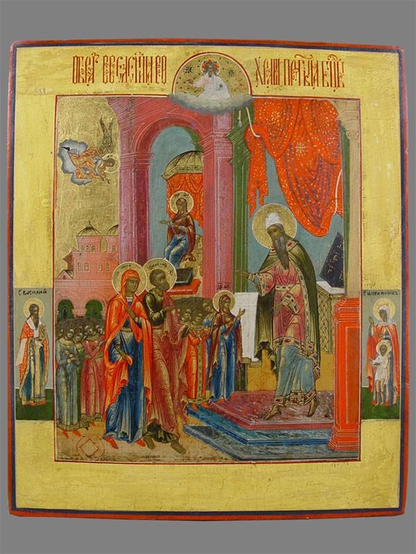 Икона «Введение вохрам Пресвятой Богородицы», дерево, левкас, темпера, XIXвек, размер: 33,5×28см
