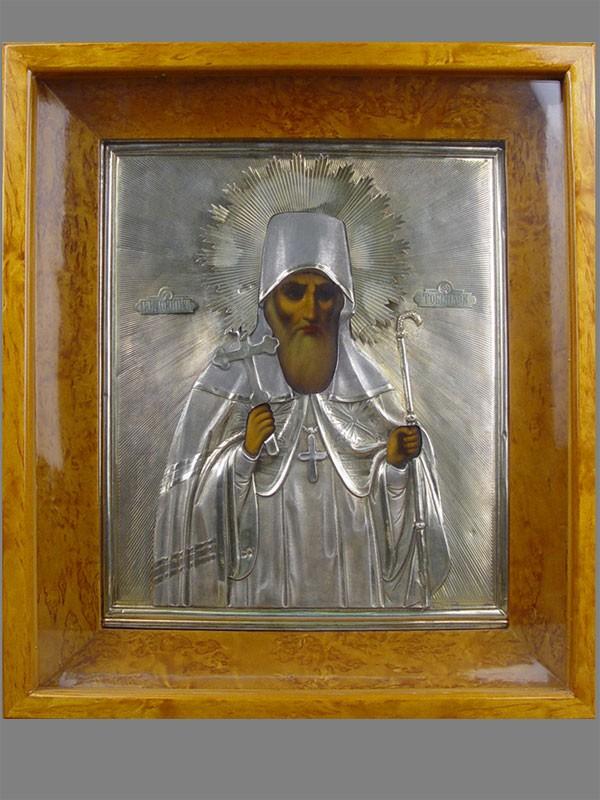 Икона вкиоте «Святой митрополит Иоанн Тобольский», дерево, левкас, темпера, оклад— серебро 84пробы, конец XIXвека, размер иконы: 31,5×27см