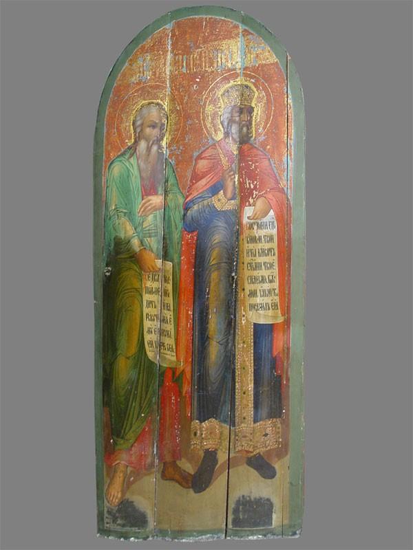 Икона «Святые царь Давид ипророк Исайя», дерево, масло. XIXвек, размер: 160×69см