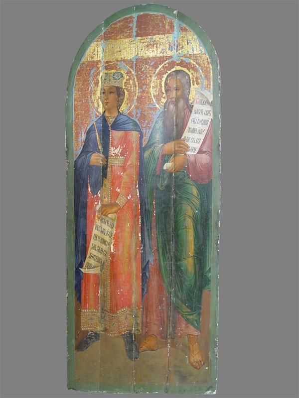 Икона «Святой царь Соломон, Святой преподобный Иезекииль», дерево, масло. XIXвек, размер: 160×68см