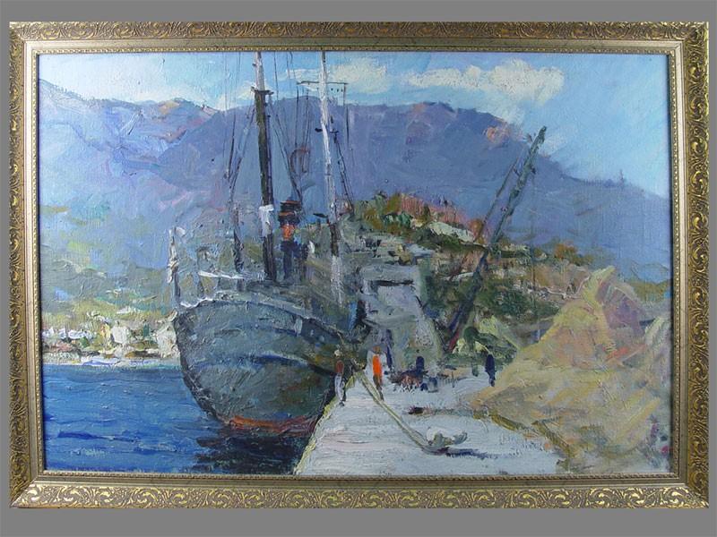 В.А.Фербер, «Морской порт», холст, масло, размер: 60×90см