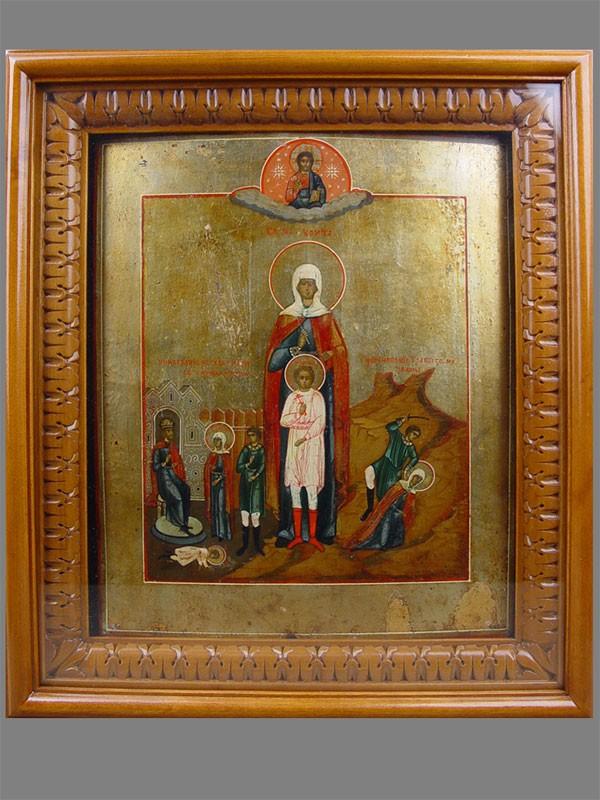 Икона «Святые Кирик иУлита», дерево, левкас, темпера, сусальное листовое серебро, 19век, 31×25см; киот