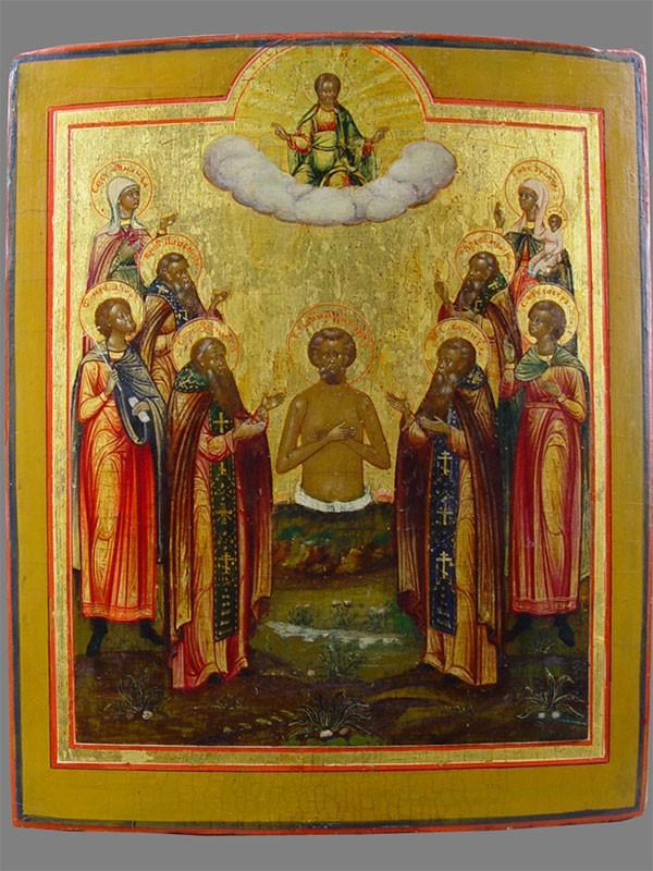 Икона «Святой Иоанн Многострадальный соСвятыми Зосимой иСавватием, Паисием,  Кириком иУлитой», дерево, левкас, темпера, 31×25см