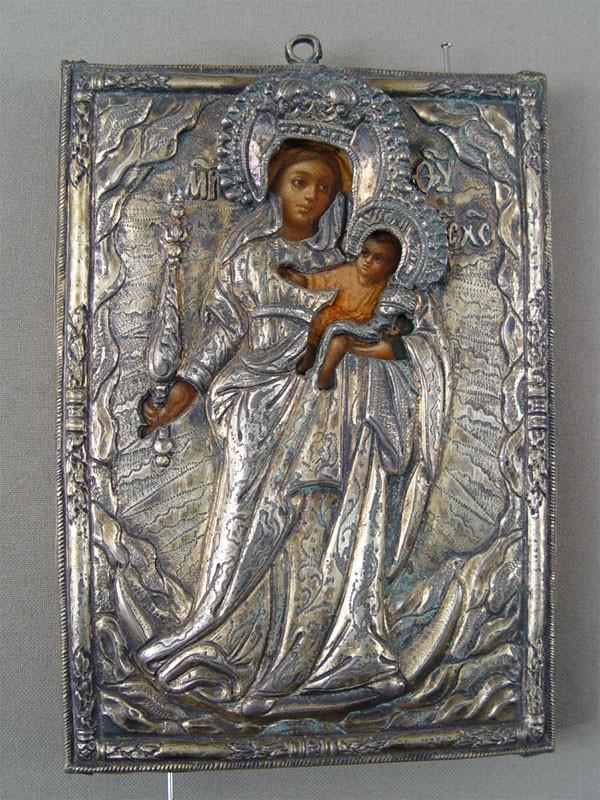 Икона Божией Матери «Благодатное Небо», дерево, левкас, темпера, масло; оклад— серебро; XVIIIвек, размер: 14,5×10,5см