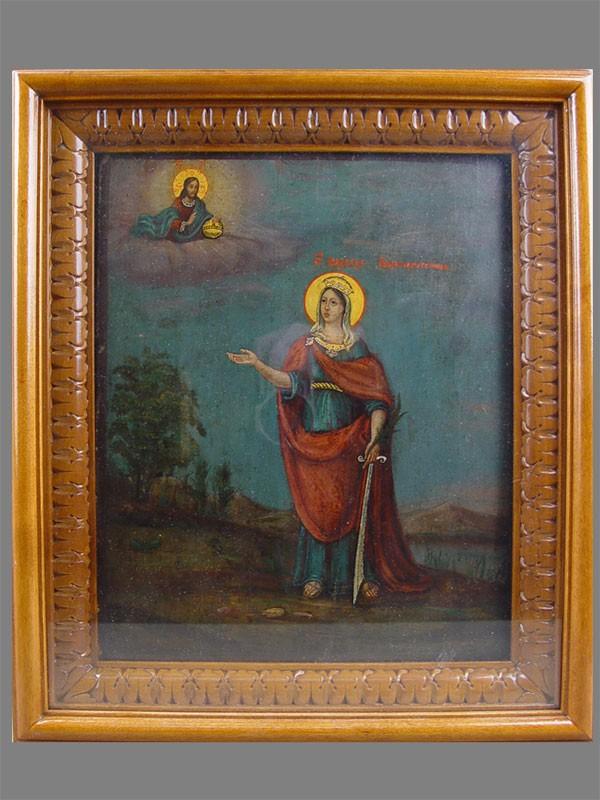 «Св. Вмуч.Варвара», дерево, смеш. техника, 31×25см; киот