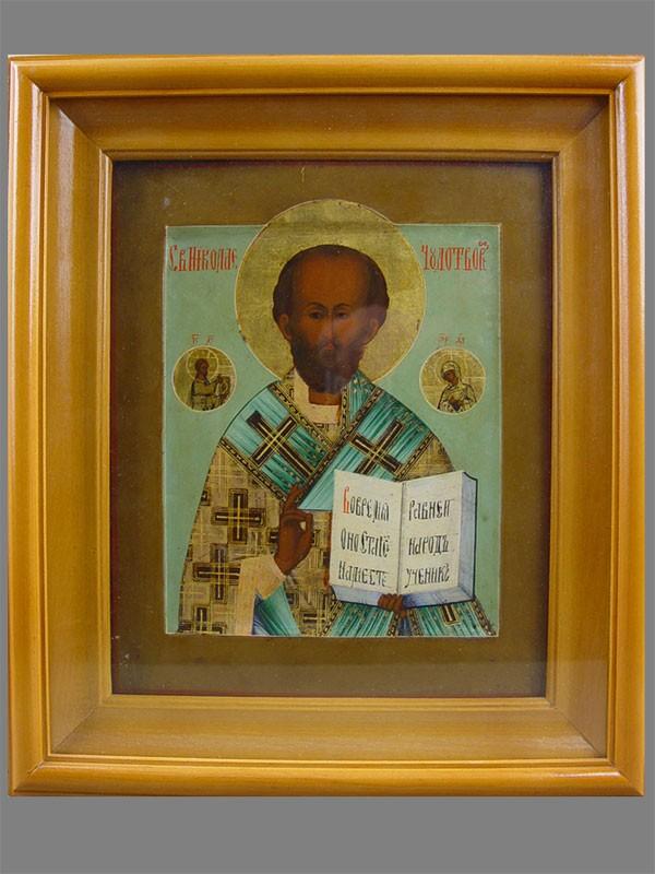 «Святой Николай Чудотворец», дерево, левкас, темпера, Мстера, 26,5×22см; киот