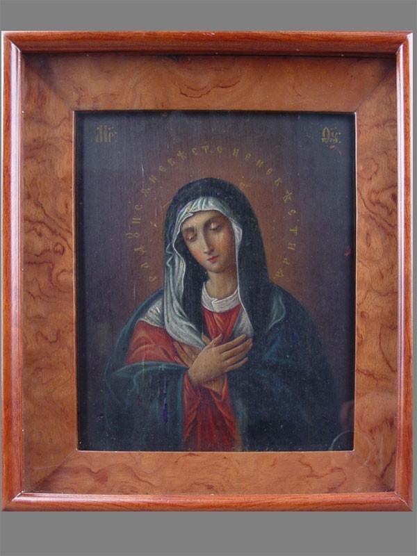 «Пресвятая Богородица Умиление (Дивеевская)», дерево, масло, XIXв., 27×22см; киот