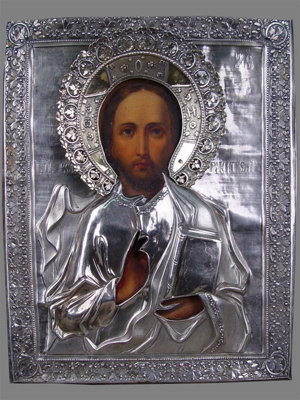 Икона вкиоте «Господь Вседержитель», дерево, масло, оклад— серебро 84пробы, 27×22см