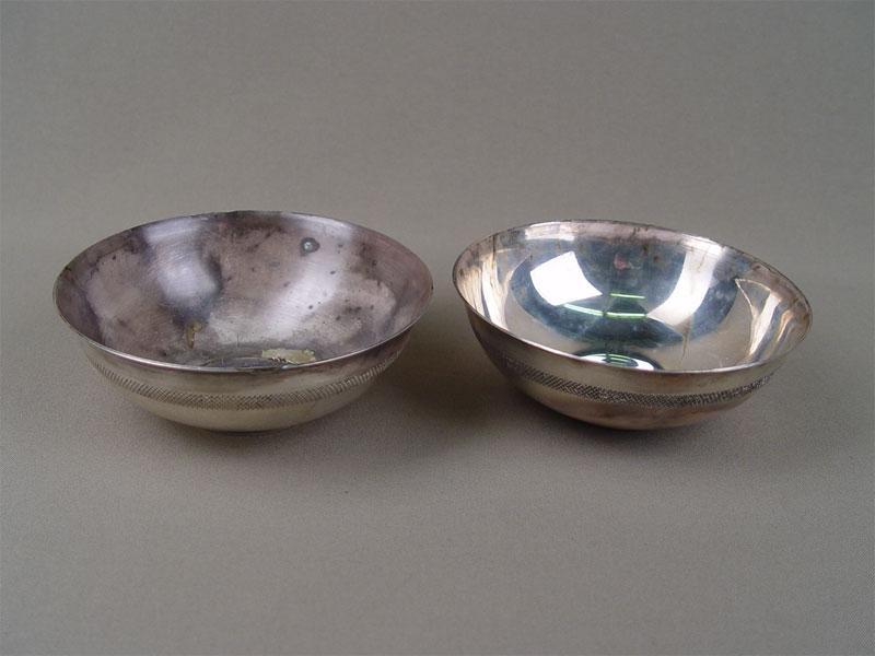 Пиалы (2шт.), серебро 875пробы, общий вес— 343г, диаметр— 13см