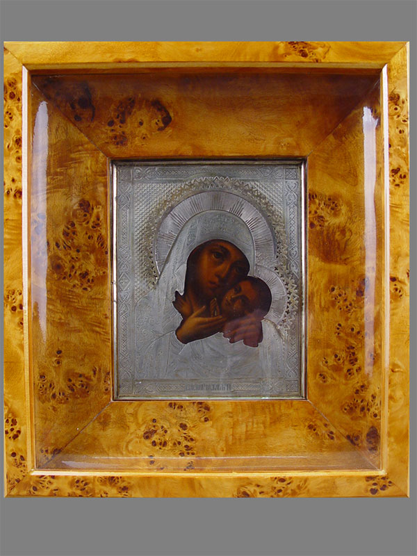 Икона вкиоте «Пресвятая Богородица Касперовская», дерево, масло; оклад— серебро 84пробы. XIXвек, размер иконы: 18×13см