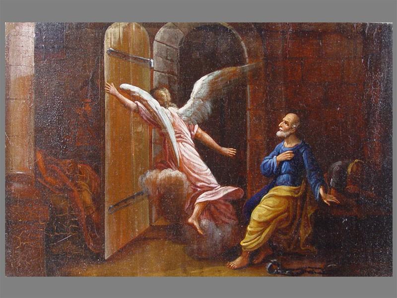 «Освобождение Апостола Петра изтемницы», дерево, масло, 25×39см, XIXв.