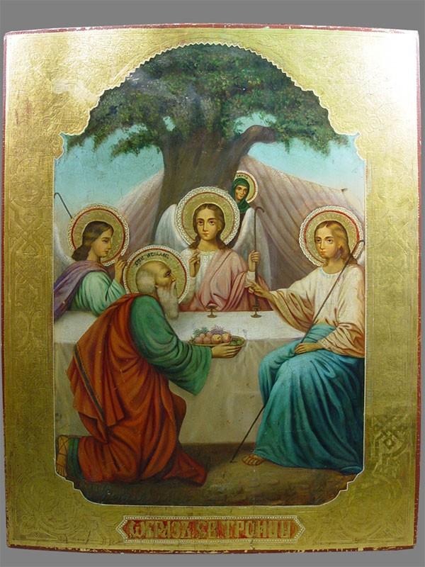 Икона «Святая Троица», дерево, левкас, темпера, позолота, размер: 89,5×70,3см