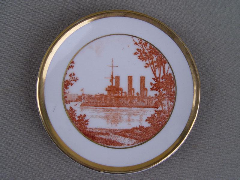 Антиквариат. Настенная тарелка «Санкт-Петербург. Аврора», фарфор, деколь. ЛФЗ